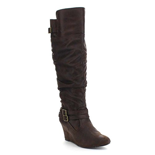 qupid-valley-07-womens-slouchy-buckle-strap-wedge-heel-side-zip-knee-high-boots-colorbrown-size85