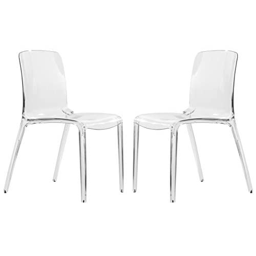 LeisureMod Adler Mid-Century Modern Dining Side Chair, Set of 2 (Clear)