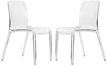 LeisureMod Adler Mid-Century Modern Dining Side Chair, Set of 2 Clear