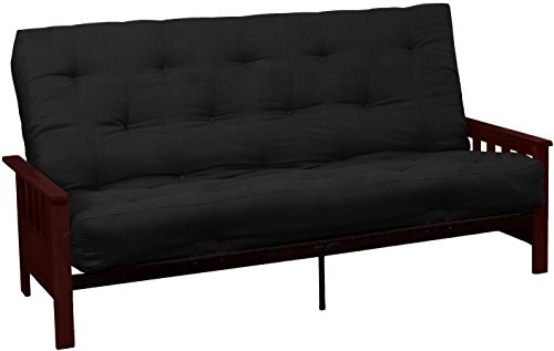 Epic Furnishings Berkeley 10-inch Loft Inner Spring Futon Sofa Sleeper Bed, Queen-size, Mahogany Arm Finish, Microfiber Suede Ebony Black Upholstery