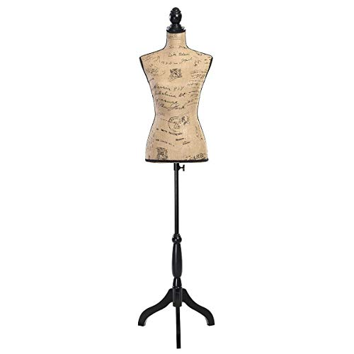 COSTWAY Female Mannequin Torso Body Form with Black Tripod Stand, Adjustable Height Non-Straight Pinnable for Pants Clothing Dress Jewelry Display (Brown), As The Picture Shows