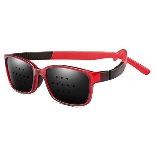 Unisex Eyesight Vision Care Vision Improve Pinhole Glasses Eyes Exercise Fashion Natural (Color : Red)