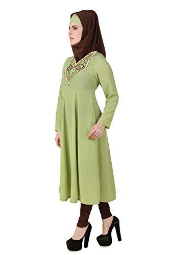MyBatua Parrot Green Crêpe Femmes Musclées Short Abaya AY-493