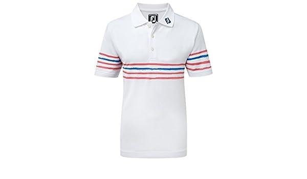 Footjoy Junior Pique with Stripes Shirt Polo, Niños, (Blanco/Rojo ...