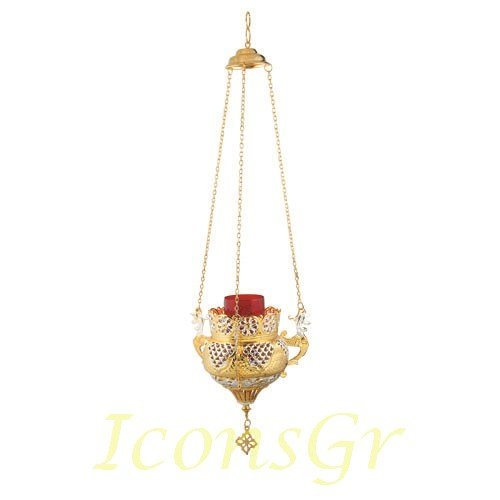 Gold Plated Orthodox Greek Christian Bronze Hanging Votive Vigil Oil Lamp with Chain and Red Glass - 9688gs by Iconsgr