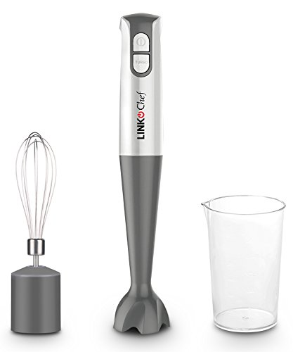 LINKChef Hand Blender with Beaker & Whisk 600 W 2 Speed Stainless Steel Blades White & Grey, HB-1440, Lifetime Warranty