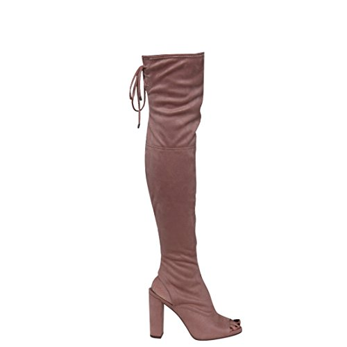 Delicious IC82 Women's Side Zip Backless Lace Up Chunk Heel