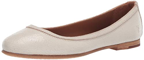 FRYE Women's Carson Ballet Flat, Off White Painted Suede, 8.5 M US