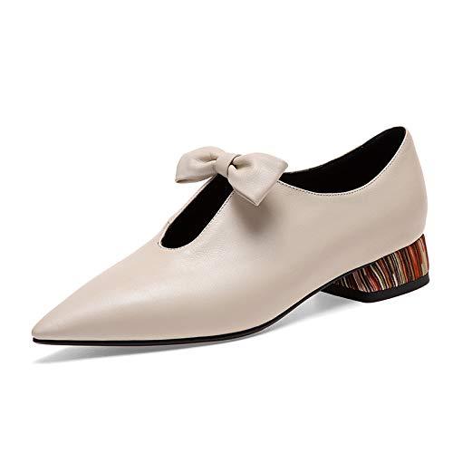Arco Para E Botines Glter De Invierno Otoño Mujer Beige Puntiagudos Cuero Planos Tacón Zapatos Bajo UOwqwTgH