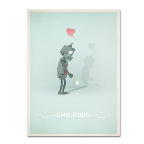 picture of Trademark Fine Art Sad Robot Canvas Wall Art by Christian Jackson, 22 by 32-Inch