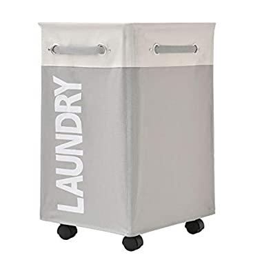 comfortez 24  Pro+ Wheeled Laundry Hamper with Breathable Cover Heavy Duty Laundry Sorter Dirty Clothes Organizer Waterproof Foldable Laundry Basket Extra Large Laundry Bag (Beige Plus Light Gray)