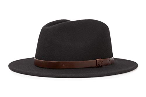 - Brixton Men's Messer Medium Brim Felt Fedora Hat, black, Large