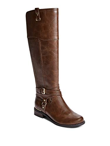 GUESS Factory Women's Hollow Harness Buckle Riding Boots Brown