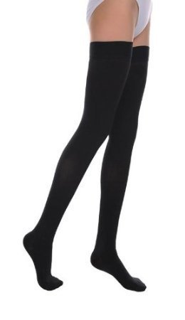 - Thigh High Compression Stockings 20-30 mmHg, Stay-Up Lace Top, Silicone Band, Profssional Grade Graduated Compression (X-Large, Black)