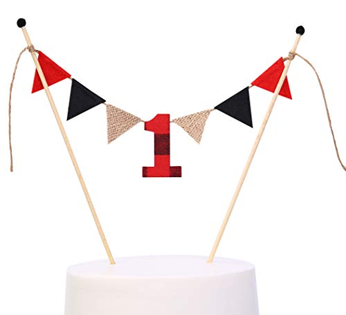 (WAOUH 1st Birthday Cake Topper for Lumberjack - Cake Topper Banner for 1st Birthday-Buffalo Plaid 1rst Birthday Decorations-Happy)