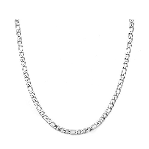 4mm Silver Figaro Chain - Figaro Chain Necklace 4MM Stainless Steel Figaro Link Chain for Men Women