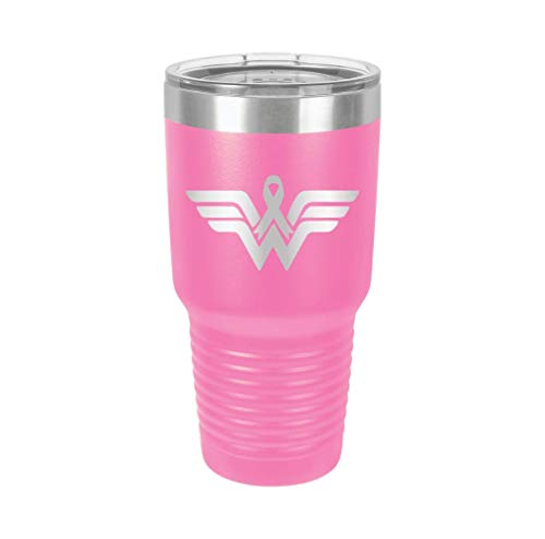 Wonder W Logo Cancer Woman - Engraved Tumbler Wine Mug Cup Unique Birthday Gift Graduation Gifts for Men or Women Breast Cancer Awareness Pink Ribbon (30 Ring, Pink