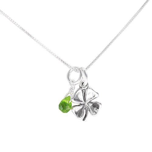 - Sterling Silver Four Leaf Clover and Green Crystal Necklace, 16