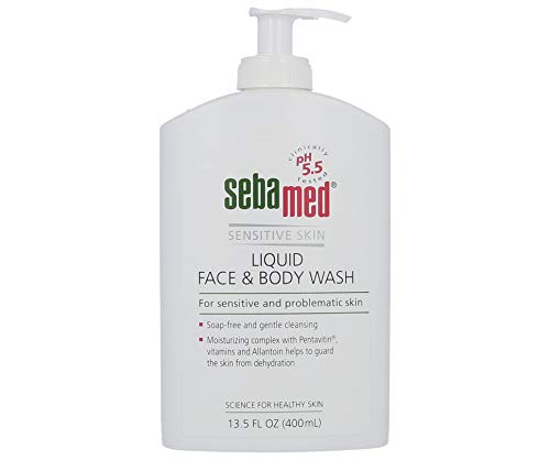 Sebamed Paraben-Free Liquid Face and Body Wash with Pump pH 5.5 Dermatologist Recommended Mild Hydrating Cleanser for Sensitive Skin 13.5 Fluid Ounces (400 Milliliters)