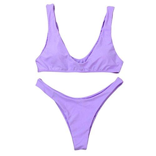 Zolimx Color Sólido Del Verano de la Señora de Dos Piezas Del Bikini púrpura