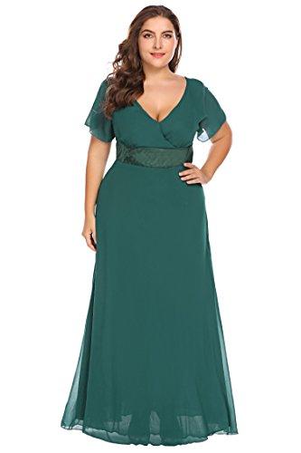 Zeagoo Womens Plus Size Chiffon Short Sleeve Maxi Formal Dresses Party Dress (18W, Green)