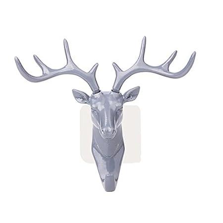 viewhuge 1pcs cabeza de ciervo cuernos de gancho de pared ...