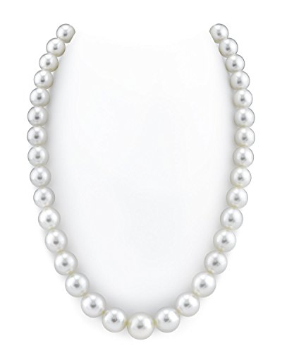 14K Gold 10-12mm GLA CERTIFIED Australian White South Sea Cultured Pearl Necklace - AAA Quality, (White Australian South Sea Pearl)
