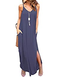 53b54877f8 Women's Summer Casual Loose Dress Beach Cover Up Long Cami Maxi Dresses  with Pocket