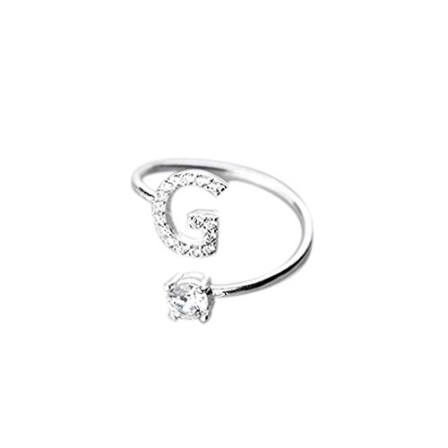 Initial Letter Ring, Haluoo Sterling Silver Alphabet Initial Ring A-Z Stackable Ring 26 Letters Statement Ring Adjustable Open Wrap Engagement Promise Ring Band for Women Men (G)