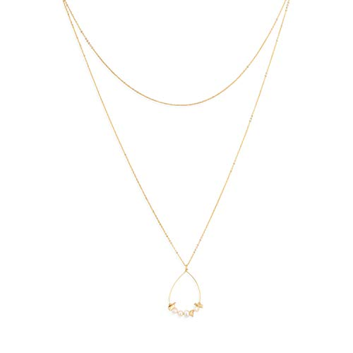 Dainty Gold Layered Necklace,Freshwater Pearls and Gold Shell Chips Double Layered Choker Necklaces for -