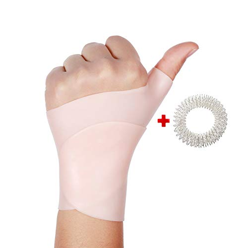 Gel Wrist Brace Carpal Tunnel -Wrist Thumb Splint Support, Adjustable Braces Left Right Hand Suit for Everyone, Tendonitis,Tenosynovitis,Typing,Rheumatism, Arthritis-Gift One Acupressure Massage Ring - Left Hand Massage Glove