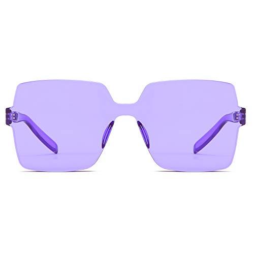 Oversized Square Candy Colors Transparent Lens Rimless Frame Unisex Sunglasses ()