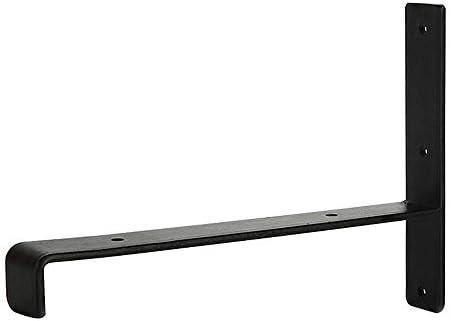 棚受け金具 アイアンブラケット 素朴な棚足場板用のヘビーデューティ産業シェルフ角中括弧ブラケットウォールはヴィンテージ棚2個搭載 棚 支え (Color : Black, Size : S)