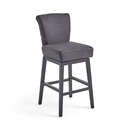 Christopher Knight Home 300795 Tristan Fabric Swivel Barstool (Dark Charcoal)