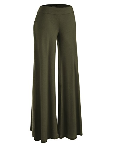 Made By Johnny WB1104 Womens Wide Leg Palazzo Lounge Pants XL Olive by Made By Johnny