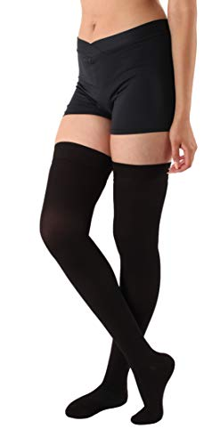 Absolute Support Thigh High Compression Stockings Silicone Border, Black – 4XL