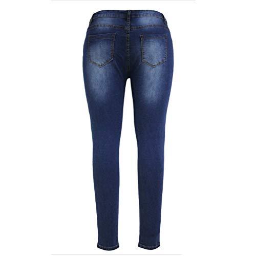 Sexy Slim Cowboy Donna blu Vita Blu Blu Piccoli Spezzato Fit Bassa azzurro Jeans Pantaloni Foro Scuro Lunghi vqwdpUq0