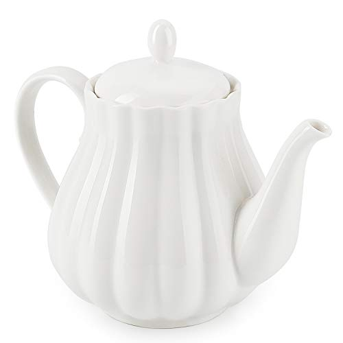 Sweese 2301 Ceramic Teapot Pumpkin Fluted Shape, White - 28 Ounce