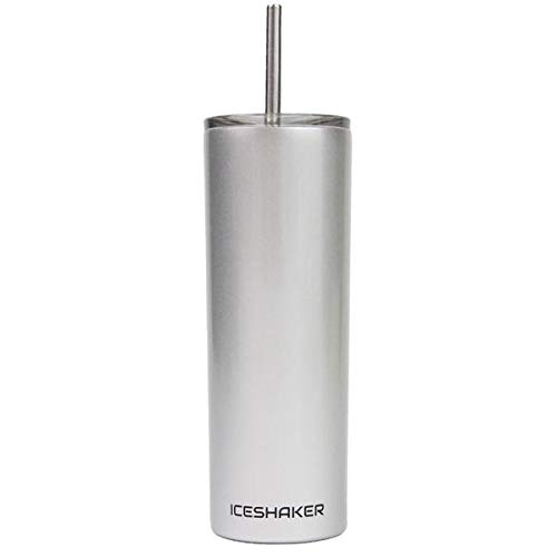 Ice Shaker 20oz Stainless Steel Skinny Tumbler with Lid and Straw (Silver)