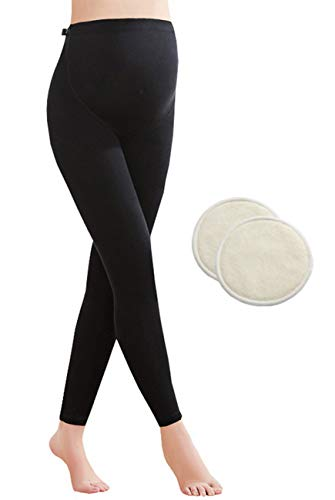 Foucome Women's Over The Belly Super Soft Support Maternity Leggings and Washable Nursing Pads Great Pregnant Mom Gift by Foucome