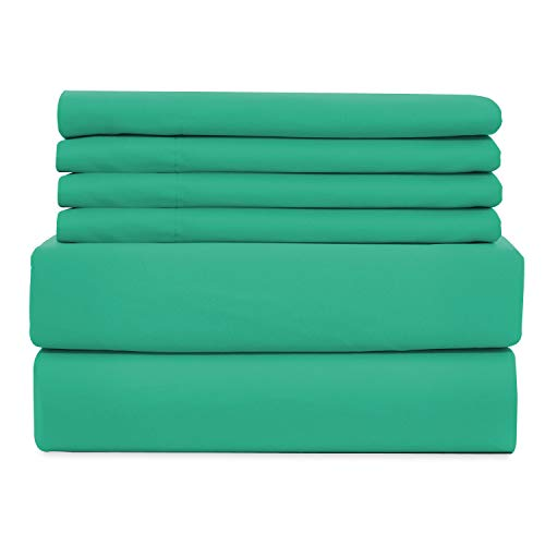WAVVA Soft Bedding 6 Piece Bed Sheets Set - Hotel Collection 1800 Premium Quality Deep Pocket, Wrinkle & Fade Resistant - Sea Green, Queen