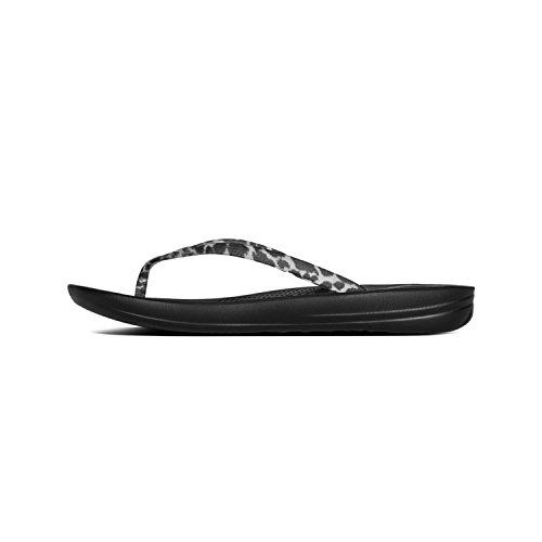 - FitFlop Women's Iqushion Ergonomic Flip-Flop, Black Leopard Sandal, Size 9
