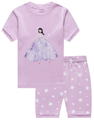 Girls Pyjama Set - Family Feeling Little Girls Short Sleeve Pajamas Sets 100% Cotton Pyjamas Toddler Kids Pjs Size 4T Blue