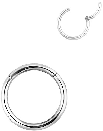14G 12mm (1/2 Inch) Surgical Steel Hinged Easy Use Hassle Free Segment Hoop Body Piercing Ring