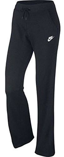 Nike Womens NSW Fleece Open Hem Pants #803652-010 (Black/Black/White, Large)