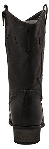 Elara Damen Cowboy Stiefel | Bequeme Lederoptik Stiefeletten | Blockabsatz Zipper | Gefüttert | chunkyrayan Schwarz