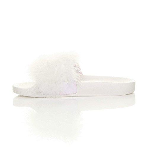pelliccia White comodo Feather piatto numero ciabatta sandali Donna pantofole infradito slides zB5Ewq