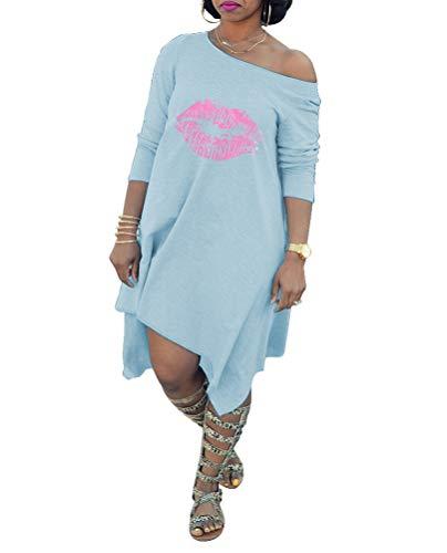 Remelon Womens Long Sleeve One Off Shoulder Lip Print Loose Fit Asymmetrical T Shirt Knee Length Mini Dress Blue L