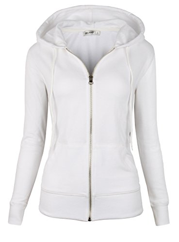 DELight Women's French Terry Regular Fit Zip up Hoodie (XX-Large, White)
