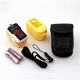 Concord Fingertip Pulse Oximeter - Blood Oxygen Saturation Monitor with Silicon Cover, Batteries, Carrying Case and Lanyard